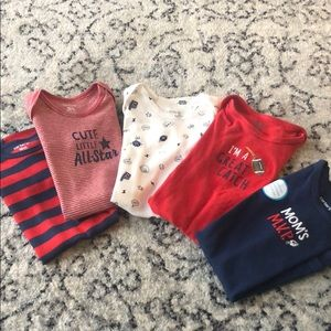Set of 5 football onesies size 18 months